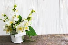Fleur de jasmin sur la table en bois Carte de voeux Image libre de droits