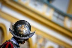 Fleur de Lis на королевском шлеме предохранителя Стоковая Фотография