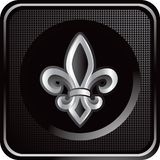 Fleur de lis on black checkered web button Stock Images