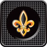 Fleur de lis on black checkered web button Stock Photo
