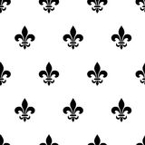 Fleur-de-lis black and white seamless pattern. Vector illustration. Royalty Free Stock Photos