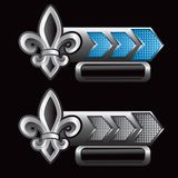 Fleur de lis on blue and silver checkered arrows Royalty Free Stock Photo