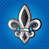 Fleur de lis on blue starburst Royalty Free Stock Photo