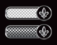 Fleur de lis on checkered banners Stock Photos
