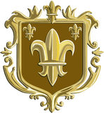 Fleur de lis Coat of Arms Gold Crest Retro. Illustration of a fleur-de-lis,  fleur-de-lys or  flower of the lily depicting a stylized lily or lotus flower inside Royalty Free Stock Photos