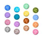Fleur de lis coloured buttons Royalty Free Stock Images