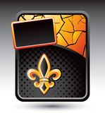 Fleur de lis on cracked gold banner template Stock Images