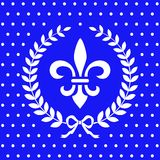 Fleur de lis design element in a laurel wreath Stock Images