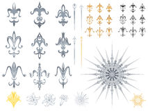 Fleur de lis designs. Here it is, a collection of a various symbols of this known flower, the great lily symbol, truly existing for the monarchy and the ornate Stock Photos