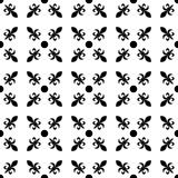 Fleur de lis in diagonal arrangement with dot in the middle. Abstract retro geometrical seamless pattern. Black vector Royalty Free Stock Photo