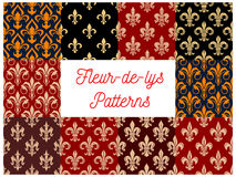 Fleur-de-lis floral seamless patterns set Stock Image