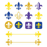Fleur de lis - French symbol gold and navy blue design, Scouting organizations Royalty Free Stock Photography