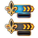 Fleur de lis on gold arrow nameplate banners Royalty Free Stock Images