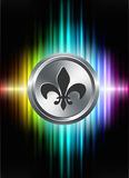 Fleur De Lis Icon Button on Abstract Spectrum Background Royalty Free Stock Photo