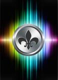 Fleur De Lis Icon Button auf abstraktem Spektrum-Hintergrund Lizenzfreies Stockfoto