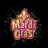 Fleur de Lis lily for Mardi Gras masquerade carnival firework. Mardi Gras gold glitter text with firework sparkles. Fleur-de-Lis lily symbol for masquerade Stock Photos
