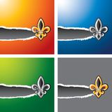 Fleur de lis on multicolored ripped banners Royalty Free Stock Images