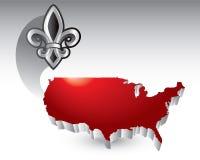 Fleur de lis over united states icon Royalty Free Stock Photo