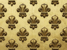 Fleur de Lis Pattern στο χρυσό Στοκ φωτογραφίες με δικαίωμα ελεύθερης χρήσης
