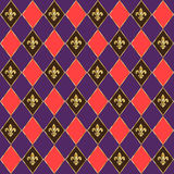 Fleur-de-lis pattern. Carnival, Festival, Music Masquerade Mardi Gras Parade diamond colorful geometric checkered seamless pattern with`fleur de lis`icon. Funny Royalty Free Stock Photos