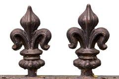 Fleur de lis railing. Double Fleur de lis wrought iron railing stock photos