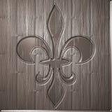 Fleur de lis relief on wooden background Stock Images