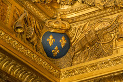 Fleur de Lis. Royal symbol Fleur de Lis on a ceiling in Versailles palace, France stock photo