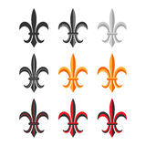 Fleur De Lis Royal Symbol Set. Vector Foto de archivo