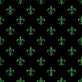 Fleur-de-lis seamless pattern. Ols style template. Floral classic texture. Fleur de lis royal lily retro background. Design vintag Stock Image