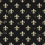 Fleur-de-lis seamless pattern. Ols style template. Floral classic texture. Fleur de lis royal lily retro background. Design vintag. E for card, wallpaper Stock Image