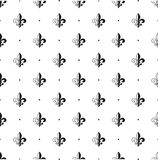 Fleur-de-lis seamless pattern. Vector illustration. Black white template. Floral texture. Elegant decoration, royal lily retro bac Royalty Free Stock Image