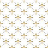 Fleur de lis seamless vector pattern. French. Vintage stylized lily flower luxury royal symbol. Monarchy gold iris sign on white intersected background Stock Images