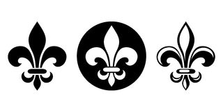 Fleur-de-lis. Set of black silhouettes of lily flowers. Vector illustration.