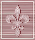 Fleur de lis on stripey background with minimalistic frame Stock Photography