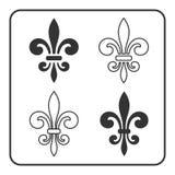 Fleur de Lis symbol set. Fleur-de-Lis sign. Royal french lily. Heraldic icon for design, logo, decoration. Elegant flower outline design. Gray element isolated Royalty Free Stock Image