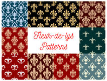 Fleur-de-lis vector patterns set of french lily Royalty Free Stock Photography