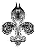 Fleur De Lis w rocznika stylu royalty ilustracja