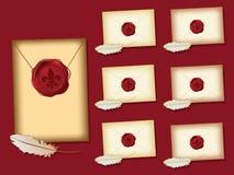 Fleur de lis wax seal envelopes Stock Photography