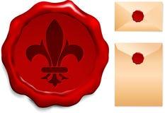 Fleur De Lis Wax Seal Stock Images