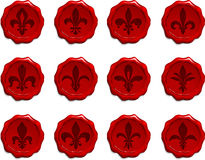 Fleur De Lis Wax Seal Set Royalty Free Stock Photo