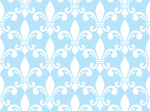 Fleur de lis white and blue semless pattern - French floral background Royalty Free Stock Image
