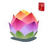 Fleur de lotus colorée d'isolement sur le fond blanc Photos libres de droits