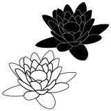 Fleur de lotus rose dans le style de bande dessinée d'isolement sur le fond blanc illustration de vecteur