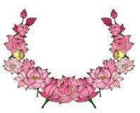 Fleur de lotus tirée par la main de cercle Images stock