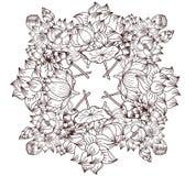 Fleur de lotus tirée par la main de cercle Images libres de droits