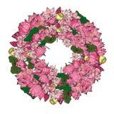 Fleur de lotus tirée par la main de cercle Photo libre de droits