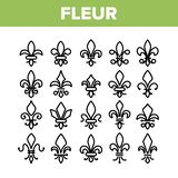 Fleur De Lys, Geplaatste Royalty Lineaire Vectorpictogrammen vector illustratie