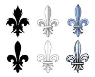 Fleur-de-lys, heraldic motif of lily flower. Set of different graphic presentations for design and decorate Royalty Free Stock Images