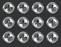 Fleur De Lys Icons on Metal Internet Buttons Royalty Free Stock Photo