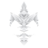 Fleur de lys in origami style. Origami fleur de lys with three layers of transparent shadow detail, in different grey tones, all in one color tints for fast Stock Illustration